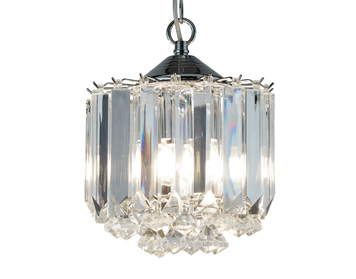 Searchlight Sigma 3 Light Ceiling Light, Chrome Finish With Clear Acrylic Crystal Prisms & Balls - 6713CC