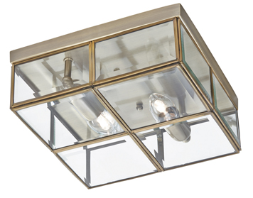 Searchlight 2 Light Flush Ceiling Fixture, Antique Brass Finish With Bevelled Glass Box Shade - 6769-26AB