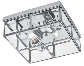 Searchlight 2 Light Flush Ceiling Fixture, Chrome Finish With Bevelled Glass Box Shade - 6769-26CC