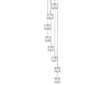Searchlight Ice Cube 8 Light LED Pendant Ceiling Light, Polished Chrome Finish With Clear Glass Shades - 6778-8-LED