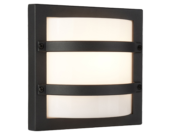 Searchlight 1 Light Outdoor Flush Curved Wall Light, Dark Grey With Opal Polycarbonate Diffuser - 6813GY
