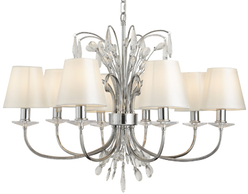 Searchlight Bloom 8 Light Ceiling Pendant Light, Chrome Finish With White Shades - 6828-8CC