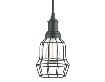 Searchlight Bell Cage 1 Light Pendant Ceiling Light, Matt Black Finish - 6847BK