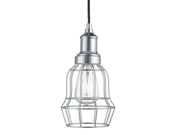 Searchlight Bell Cage 1 Light Pendant Ceiling Light, Chrome Finish - 6847CC