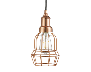 Searchlight Bell Cage 1 Light Pendant Ceiling Light, Copper Finish - 6847CU