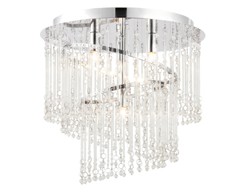 Endon Camille 4 Light Flush Ceiling Light, Chrome Plate Finish With Clear Glass - 68698