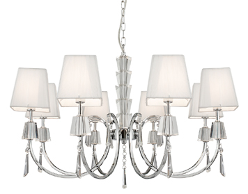 Searchlight Portico 8 Light Pendant Ceiling Light, Polished Chrome Finish With Square String Shades - 6888-8CC