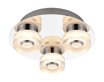 Endon Rita RGB LED 3 Light Remote Control Flush Ceiling Light, Clear & Frosted Acrylic Finish - 68911