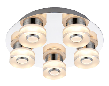 Endon Rita RGB LED 5 Light Remote Control Flush Ceiling Light, Clear & Frosted Acrylic Finish - 68913