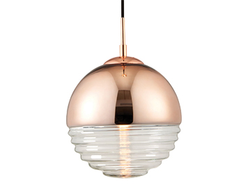 Endon Paloma 1 Light Ceiling Pendant, Copper Finish With Clear Ribbed Glass - 68956