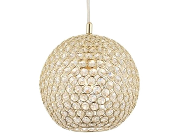 Endon Claudia 1 Light Ceiling Pendant, Brass Finish With Clear Crystal Glass - 68991