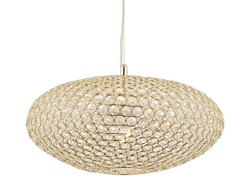 Endon Claudia 1 Light Ceiling Pendant, Brass Finish With Clear Crystal Glass - 68992