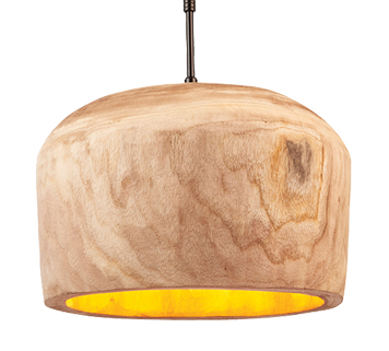 Endon 'Lucy' 330mm 1 Light Ceiling Pendant Light, Natural Wood & Gloss Black Cord - 68996