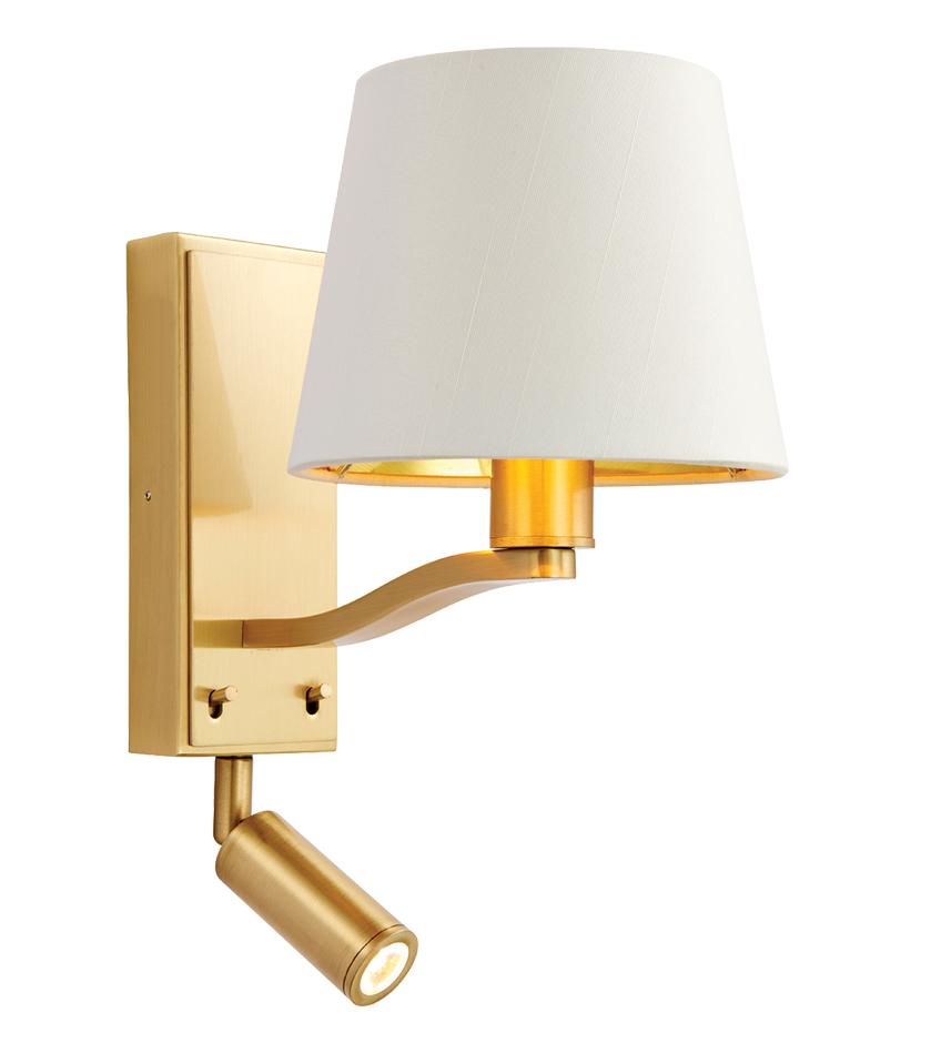 Endon Harvey LED & E14 2 Light Reading Wall Light, Brushed Gold & Vintage White Faux Silk ...