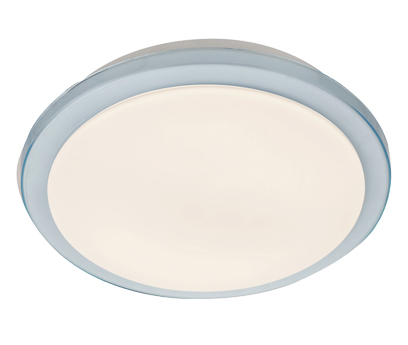 Searchlight LED Bathroom Flush Ceiling Light Blue Trim & White Acrylic Shade - 6934-35AZ