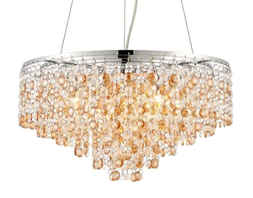 Endon Vanessa 5 Light Ceiling Pendant Light, Clear Crystal & Amber Tinted Crystal Glass Finish - 69365