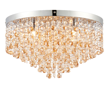 Endon Vanessa 5 Light Flush Ceiling Light, Clear Crystal & Amber Tinted Crystal Glass Finish - 69366