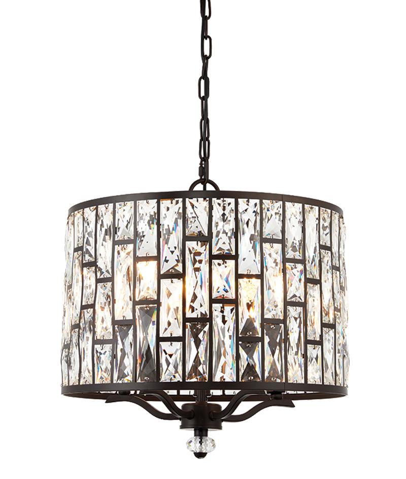 endon 5 light ceiling pendant light dark bronze u0026 clear crystal glass