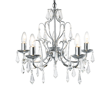 Searchlight Martina 5 Light Crystal Chandelier, Polished Chrome Finish - 6945-5CC