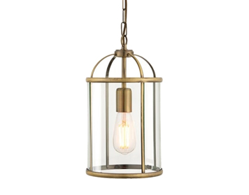 Endon Lambeth 1 Light Pendant Light, Antique Brass Finish With Clear Glass  - 69454