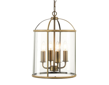 Endon Lambeth 4 Light Pendant Light, Antique Brass Finish With Clear Glass - 69455