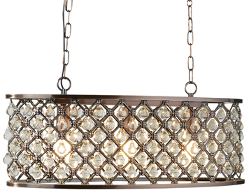 Searchlight Marquise 3 Light Oval Pendant Light, Antique Copper Finish With Glass Tear Drop Trim - 6953-3CU