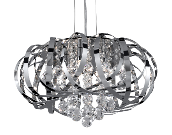 Searchlight Tilly 5 Light Pendant Ceiling light, Chrome Finish With Intertwining Strips and Clear Glass Balls - 6975-5CC