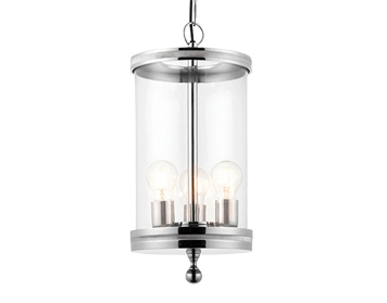 Endon Vale 3 Light Ceiling Pendant, Polished Nickel Finish With Clear Glass - 69768