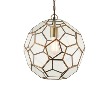 Endon Miele 1 Light Ceiling Pendant, Antique Brass Finish With Clear Glass - 69784
