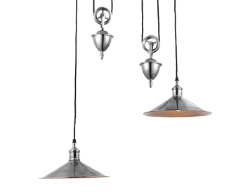Endon Victoria 2 Light Rise & Fall Ceiling Pendant, Antique Silver Finish - 69840