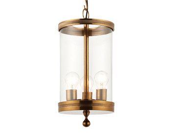 Endon Vale 3 Light Ceiling Pendant, Antique Brass Lacquer Finish With Clear Glass  - 69864