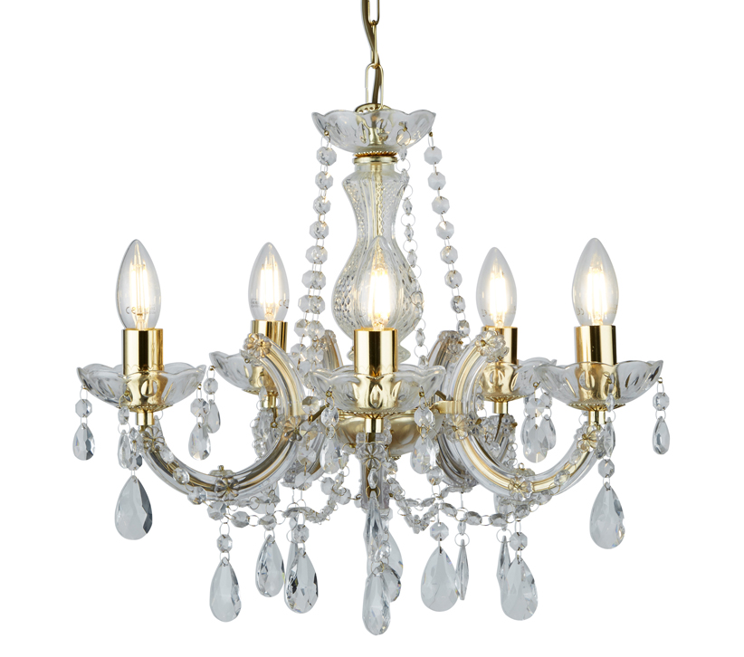 MARIE THERESE POLISHED BRASS 12 LIGHT CHANDELIER WITH CRYSTAL DROPS