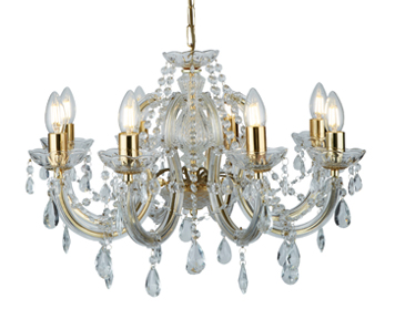Searchlight Marie Therese 8 Light Chandelier, Polished Brass Finish With Barley Twist Arms & Crystal Glass Trim - 699-8
