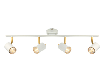 Endon Gull LED 4 Light Bar Light, Matt White & Brushed Gold Finish  - 59933