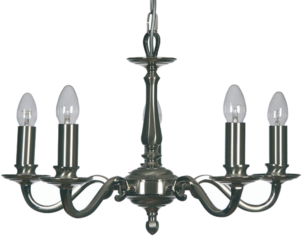 Oaks Lighting Premier Collection Aylesbury 5 Light Ceiling Light, Satin & Polished Nickel - 700/5 SN