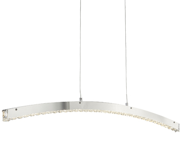 Searchlight Clover Curved Bar LED Ceiling Light, Chrome Finish With Clear Crystal Glass - 7006CC