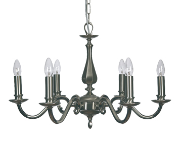 Oaks Lighting Premier Collection Aylesbury 6 Light Ceiling Light, Satin & Polished Nickel Finish - 700/6 SN