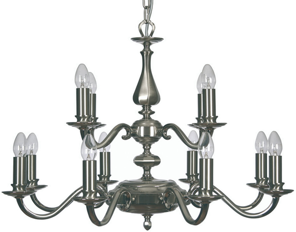 Oaks Lighting Premier Collection Aylesbury 12 Light Ceiling Light, Satin & Polished Nickel - 700/8+4 SN