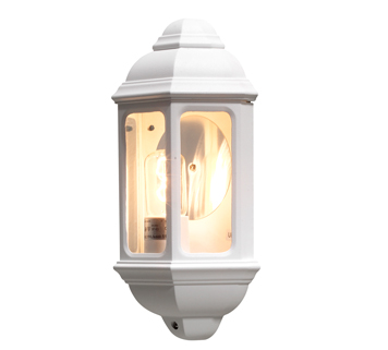Konstsmide Cagliari 1 Light Outdoor Flush Wall Light, White Finish With Clear Glass Panels - 7011-250