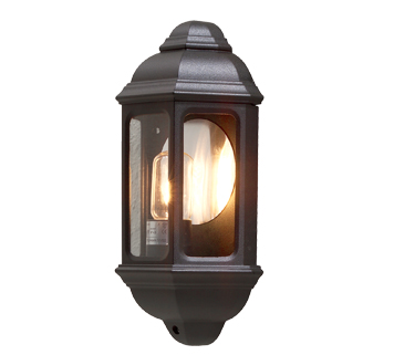 Konstsmide Cagliari 1 Light Outdoor Flush Wall Light, Black Finish With Clear Glass Panels - 7011-750