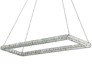 Searchlight Clover Rectangular LED Ceiling Light, Chrome Finish With Crystal Trim - 7012CC