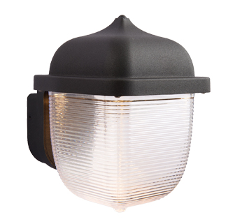 Endon 'Heath' IP44 LED 1 Light Outdoor Wall Light, Textured Black & Frosted Plastic - 70191