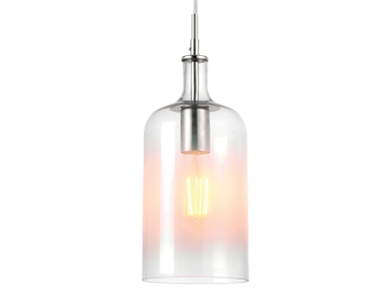 Endon Frankie 1 Light Ceiling Pendant, Clear & White Painted Glass With Bright Nickel - 70198