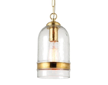 Endon Delia 1 Light Ceiling Pendant, Brass Finish With Clear Glass - 70228