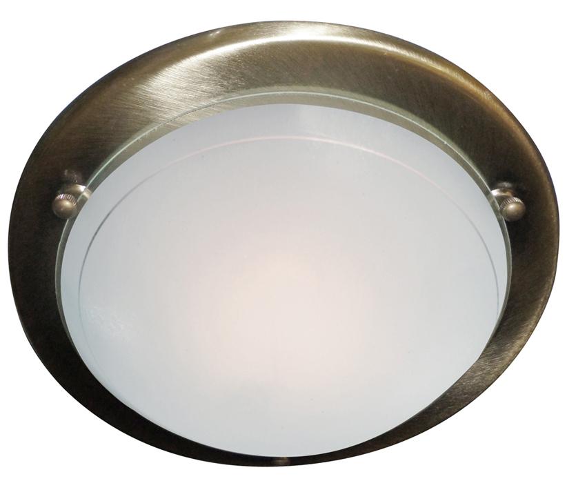 Searchlight 1 Light Flush Ceiling Light Antique Brass