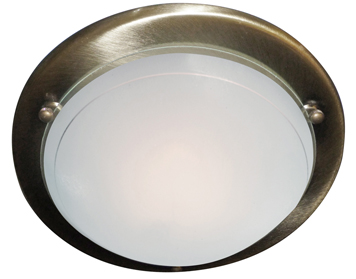 Searchlight 1 Light Flush Ceiling Light, Antique Brass Finish With White & Clear Glass Diffuser - 702AB