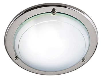 Searchlight 1 Light Flush Ceiling Light, Chrome Finish With White & Clear Glass Diffuser - 702CC