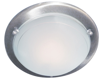 Searchlight 1 Light Flush Ceiling Light, Satin Slver Finish With White & Clear Glass Diffuser - 702SS