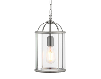 Endon Lambeth 1 Light Pendant Light, Satin Nickel Finish With Clear Glass  - 70323