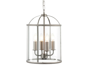 Endon Lambeth 4 Light Pendant Light, Satin Nickel Finish With Clear Glass - 70324